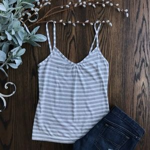 LOFT White and Grey Striped Cami